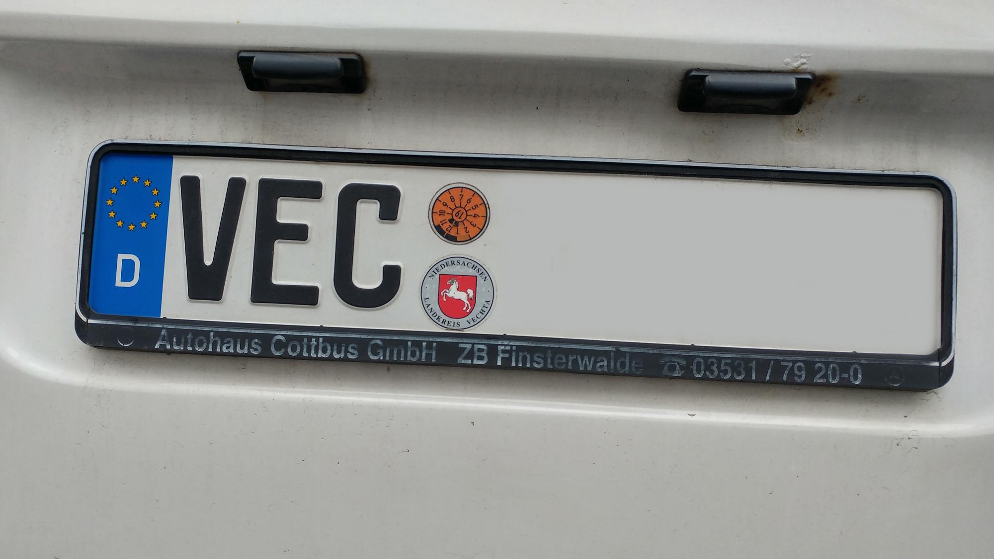 Auto mit dem Kennzeichen VEC